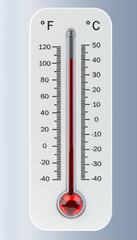 Thermometer with red temperature rise 3D rendering