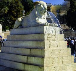Lions, fountain, Piazza del Popolo, Rome, Italy