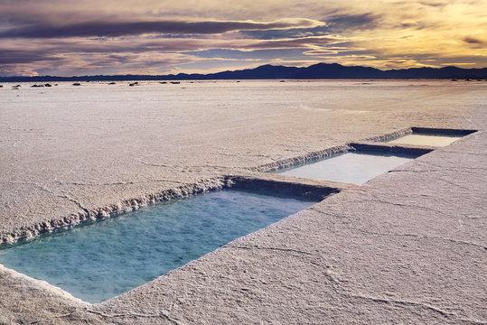 Salinas Grandes in a salt desert in the Jujuy Province, Argentina, Andes