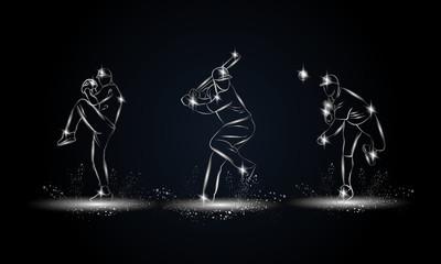 Baseball players set. Metallic linear Baseball player illustration for sport banner, background and flyer.