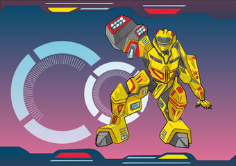 Robot transformer, children's illustration, background