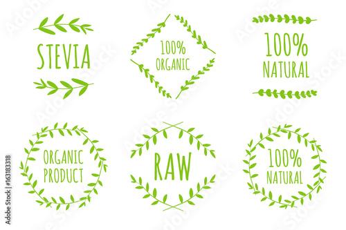 Vector Stevia, 100% Natural, Raw, Organic product labels