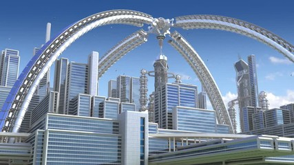 Fotomurales - 3D Animation of a futuristic city with an arched structure, highrise buildings and terraces, for architectural backgrounds.