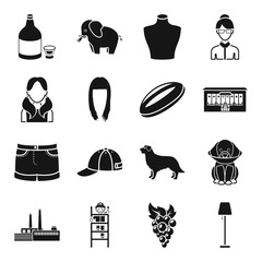 alcohol, animal, atelier and other web icon in black style. fruit, industry icons in set collection.
