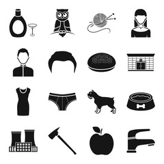 Industry, atelier, fruit and other web icon in black style.design, architecture, industry icons in set collection.
