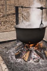 Cauldron Boiling Maple Syrup