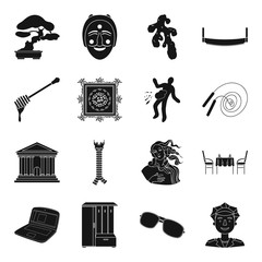 finance, medicine, building and other web icon in black style.travel, art, sport icons in set collection.