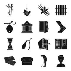 finance, travel, medicine and other web icon in black style.art, sport, service icons in set collection.