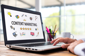 Content Marketing Concept On Laptop Monitor