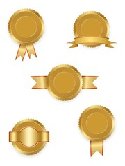 Set of vector labels gold with ribbons with red and gold ribbon with white on white background. Collection of world winning award medals . Gold medal signet