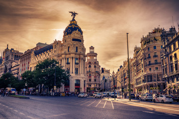 Madrid, Spain: cityscape at Calle de Alcala and Gran Via