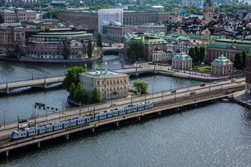 Beautiful aerial view of Stockholm Old town (Gamla Stan) from the observation deck at the City Hall (Stadshuset). Stockholm, Sweden.