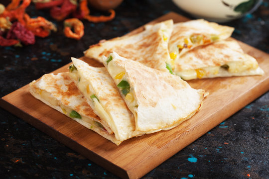 Mexican quesadillas with salsa and guacamole