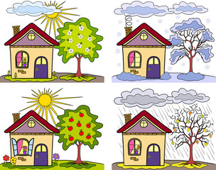 Seasons of year, country landscape  and small houses
