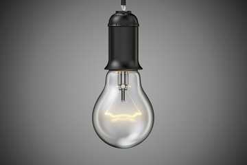 Idea concept, lightbulb in the dark. 3D rendering