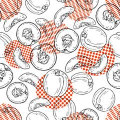 Hand drawn sketch style peach pattern
