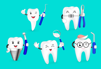 Cute cartoon tooth happily with dental tool. Dental care concept. Illustration isolated on green background.