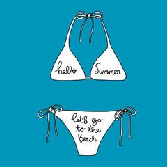 Hello Summer Let's go to the beach word on white bikini vector illustration