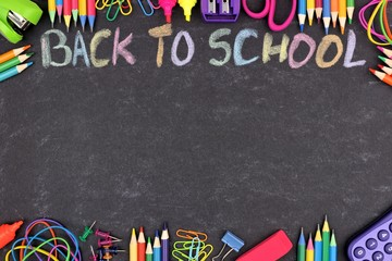 School supplies double border with Back To School written in colorful chalk with against a chalkboard background