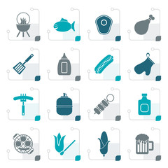 Stylized Grilling and barbecue icons - vector icon set