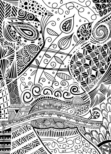 Vector Pattern With Zentangle Background Vector Ethnic Pattern Can