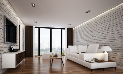 The interior of modern living room and service apartment design and white brick wall