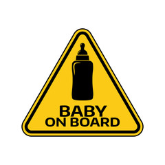 Baby on board sign with child bottle silhouette in yellow triangle on a white background. Car sticker with warning.