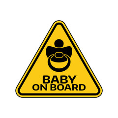 Baby on board sign with child nipple silhouette in yellow triangle on a white background. Car sticker with warning.