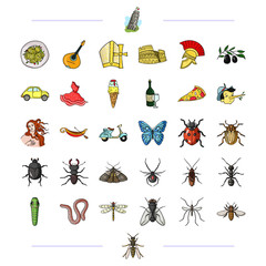 Italy, travel, traditions and other web icon in black style.insect, botany, education icons in set collection.