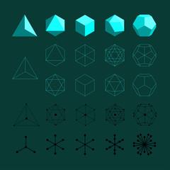 Platonic solids. Tetrahedron, Octahedron, Cube, Icosahedron and Octahedron.