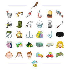 travel, transportation and other web icon in black style.family, fishing, hiking icons in set collection.