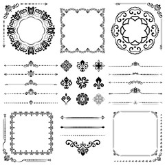 Vintage set of vector horizontal, square and round elements. Different elements for decoration design, frames, cards, menus, backgrounds and monograms. Classic patterns. Set of vintage patterns