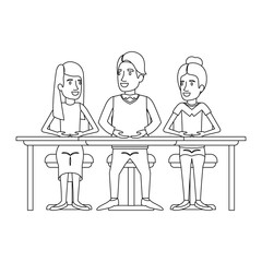 monochrome silhouette of teamwork of women and man sitting in desk vector illustration