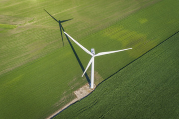 Wind turbine in a green field, top aerial view Wall mural