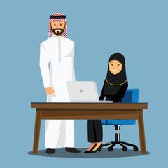 business women People  Desk,Vector illustration cartoon character
