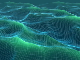 3d illustration of wireframe waves mesh. Abstract landscape.