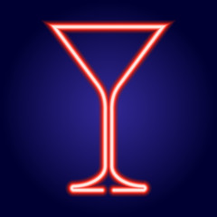 martini glass glowing red neon of vector illustration