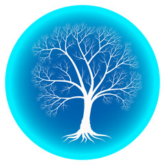 Abstract winter tree with bare branches on a blue background