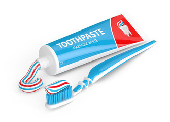 3d render of toothbrush with toothpaste over white