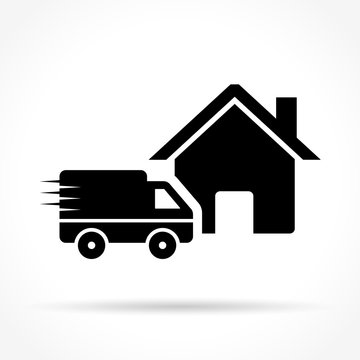 home delivery icon on white background