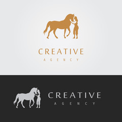 silhouette woman and horse logo