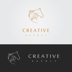 outline horse and woman logo