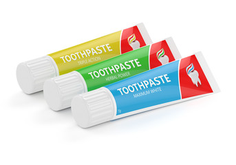 3d render of three toothpastes over white