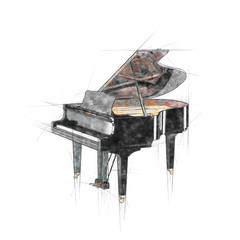Pencil sketch of opened black grand piano