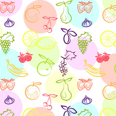 орнамент с фруктами на светлом фоне, векторная иллюстрация