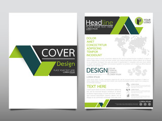 Green flyer cover business brochure vector design, Leaflet advertising abstract background, Modern poster magazine layout template, Annual report for presentation.
