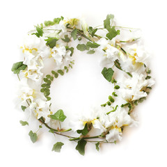 Round floral frame made of fresh Iris white flowers and ivy (hedera) branches on white background. Flat lay, top view.