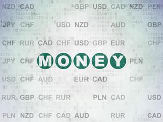 Business concept: Money on Digital Data Paper background