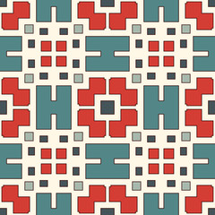 Seamless pattern with geometric figures. Repeated squares and rhombuses ornamental abstract background.