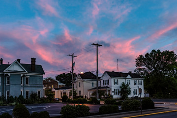 Residential houses at dusk